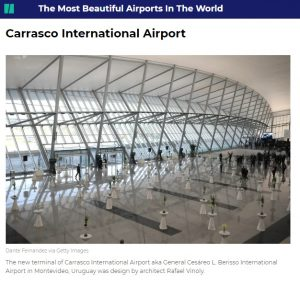 Captura de pantalla del portal Hufftington Post sobre el Aeropuerto Internacional de Carrasco