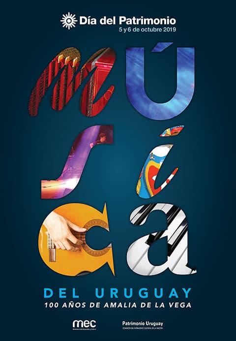 Afiche del Día del Patrimonio 2019: sobre un fondo azul, letras con distintas tipografías y colores forman la palabra música; debajo dice: 100 años de Amalia de la Vega.