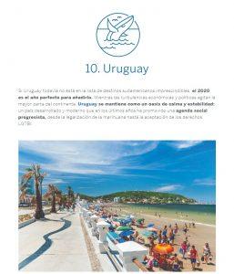 Captura de pantalla de un artículo de Lonely Planet donde aparece una imagen de una ballena saliendo del agua sobre la palabra Uruguay, un breve texto descriptivo y una foto de la rambla de Piriápolis
