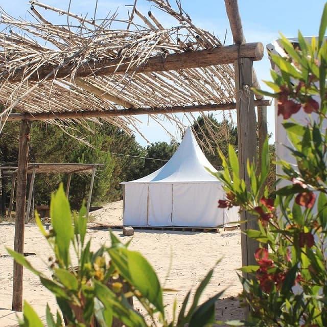 Imagen de una tienda de campaña blanca detrás de un estrcutura liviana de techo de paja y juncos, en medio de la vegetación de la playa