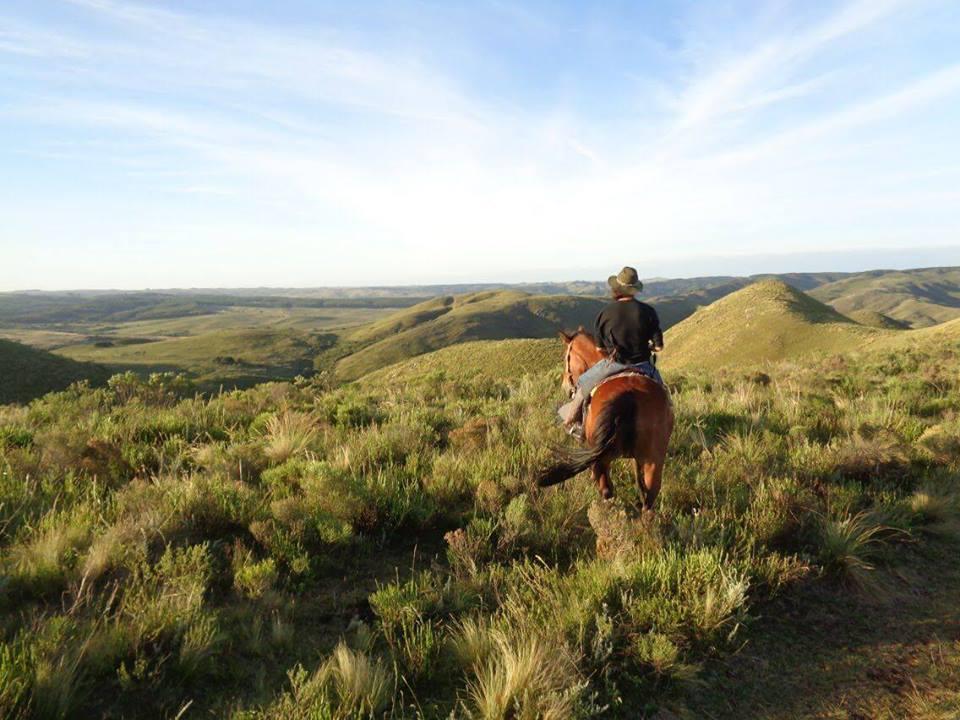 Imagen de una mujer a caballo, de espaldas, observando el paisaje de sierras a la distancia