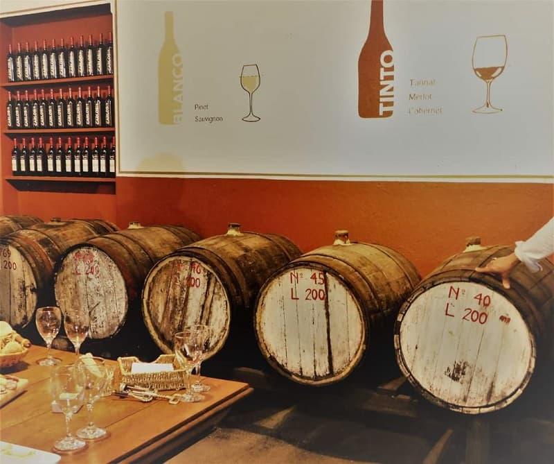 Imagen de varias barricas de vino, detrás de una mesa con copas